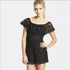 ASTR Off the Shoulder Crochet Romper in Black L